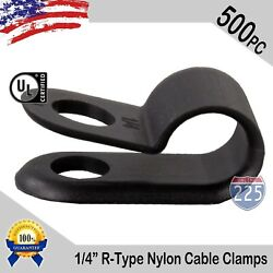 500 Pcs Pack 1/4 Inch R-type Cable Clamps Nylon Black Hose Wire Electrical Uv