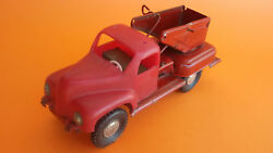 Vintage 60and039s Russian Soviet Tin / Plastic Fire Dept Friction Truck Toy Zil Zis