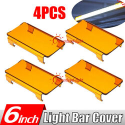 4x 6 Inch Snap On Amber Lens Cover For Straight Curved Led Light Bar 50 52 54