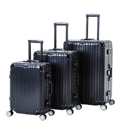 Black 3 Piece Luggage Set Spinner Trolley Case Travel Bag Suitcase with TSA Lock