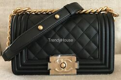 BNIB Authentic Chanel Classic Small Black Leather Le Boy With Antique Gold Chain