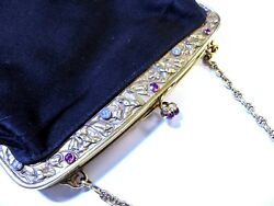 ANTIQUE Black Purse-18KYG w Rubies and Diamonds-Lovely Design w French Hallmarks