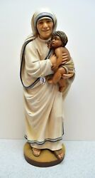 + Wood Carved Statue Of Mother Teresa Of Calcutta 23 1/4 Tall Cu116 Italy