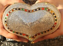 JUDITH LEIBER SWAROVSKI CRYSTAL GEM HEART N SOUL MINAUDIERE CLUTCH EVENING BAG