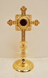 + Gold Plated Reliquary For Your Relic 14 3/4ht. + 171g + Church + Saint +