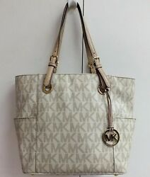 Michael Kors Jet Set Bag Vanilla MK Logo PVC Large Tote Designer Purse Handbag