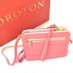 New OROTON Bueno Double Clutch Cross Body Bag Wristlet Leather Coral RRP$345