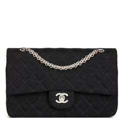 Black Quilted Jersey Fabric Vintage Medium Classic Double Flap Bag