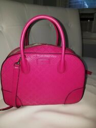 AUTH Gucci Women Pink Bright Diamante Leather Top Handle Bag