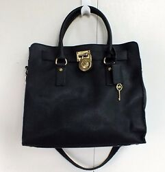 Michael Kors Hamilton Bag Black Saffiano Leather Large Satchel Designer MK Lock
