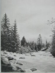 Mountain Creek Photo Realistic Landscape Pencil Drawing From Hungary