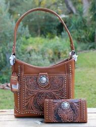 Trinity Ranch Montana West Tooled Brown Leather HOBO Handbag w FREE WALLET New