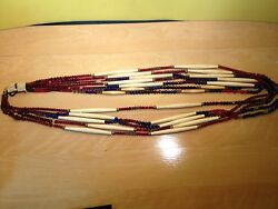 Native American Vintage 6 Strand Beaded Necklace. Each Strand 48 Long