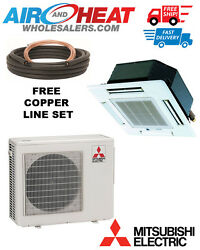 MITSUBISHI P SERIES HEAT PUMP CASSETTE MINI SPLIT 30K BTU 22 SEER (15FT LINESET)