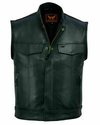 Luxhide Mens Motorcycle Biker Black Leather Vest Anarchy Club Concealed Carry