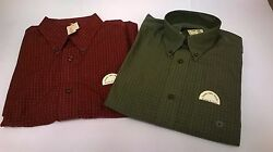Shirts - 2 Mens Eddie Bauer Red And Green Plaid Cotton Button Long Sleeve Size S