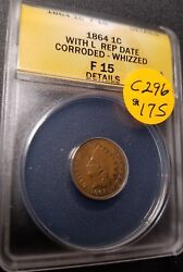 1864 Certified Indian Head Small Cent F15 C296