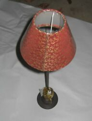 Lot Of 2 English Valsan Vintage Standing Buffet Lamps 4.5 Base With Cloth Shade