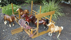 Breyer Horse Lot with Stable and Some Tack- Horses from late 1970's-early 1980's