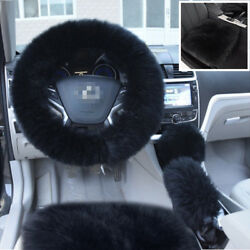Black Long Furry Steering WheelShifterParking Brake Cover+2x Car Seat Covers