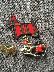 Vintage Scottie Scottish Terrier Christmas themed pins Three