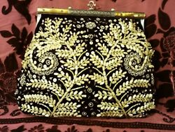 Antique look Beaded Purse evening Very Large Jeweled beaded clutch cross body