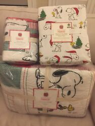 5pc Pottery Barn Kids Peanuts Holiday Twin Quilt/sham/flannel Sheet Christmas🎁