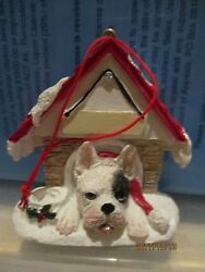 FRENCH BULLDOG WHITE WITH ONE BLACK EYE DOGHOUSE ORNAMENT #65