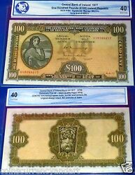 Andpound100 Central Bank Of Ireland 1977 Lady Lavery