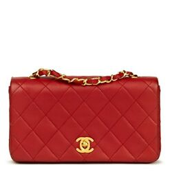 CHANEL RED QUILTED LAMBSKIN VINTAGE MINI FLAP BAG  HB956
