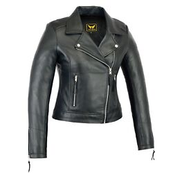 Women Genuine Sheep Motorcycle Casual Soft Light Weight Leather Jacket Black