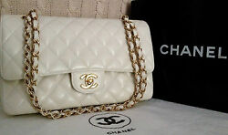 100% CHANEL Classic White Caviar Gold Chain 2.55 Double Flap 10