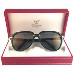 VINTAGE RARE CARTIER VITESSE GREEN JADE EDITION 58MM  18K GOLD PLATED SUNGLASSES