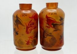 Fine Pair Of Antique Chinese Inside-painted Glass Snuff Bottles 閰玉田作