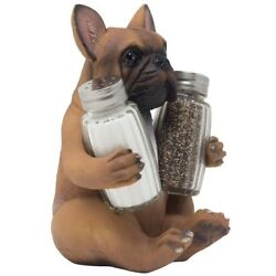 French Bulldog Puppy Dog Salt and Pepper Shaker Set Figurine with Decorative Spi