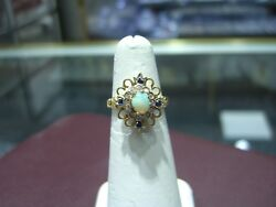 Vintage Estate Womens 14 Karat Yellow Gold Sapphire And Opal Antique Ring Size 6
