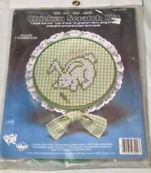 Vintage CHICKEN SCRATCH KIT Le Rabbit Green Gingham Cross Stitch Embroidery NEW