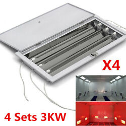 3KW SprayBaking Booth Infrared Car Body Paint Curing Heating Lamp Heater 4 Sets