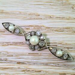 Victorian Natural Saltwater Pearl And Old Cut Diamond Brooch - 18k And Silver C 1880