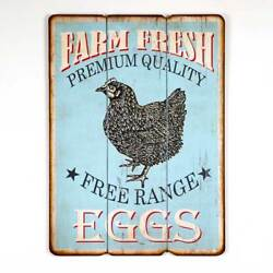 Primitive Vintage Free Range Eggs Wood Hanging Painted Wood Chicken Wall Sign