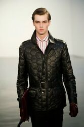 Kent And Curwen, Collection Italy Quilted Lamb Leather Men's Zip Jacket, Sz S