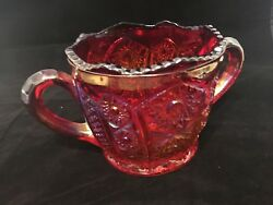 Vintage 4 Piece Indiana Red Iridescent Butter/cheese Dish W/ Sugar And Creamer Set