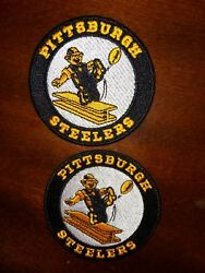 2- Pittsburgh Steelers Patches Embroidered Vintage Iron On Patch Lot 3 X 3