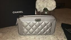 Auth BNIB Chanel Boy WOC Double Zip Silver Caviar Wallet On A Chain Bag 2017