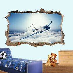 Airplane Private Jet Plane Wall Stickers 3d Art Mural Room Office Posters Vx5