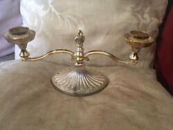 Elegant Silver Plated Double Sconce Candlestick Fluted Design Gold Colour Detail