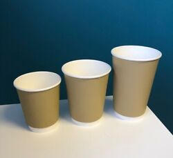 Paper Coffee Cups Double Wall Brown Kraft 8oz 12oz 16oz And Sip Lids Hot Drinks