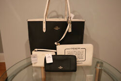 New with tags Coach tote bag black wallet white wristlet