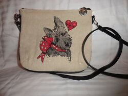 Brighton SCOTTIE Scottish Terrier Dog Canvas Crossbody Purse