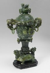 53cm tall huge antique Chinese spinach Jade vase